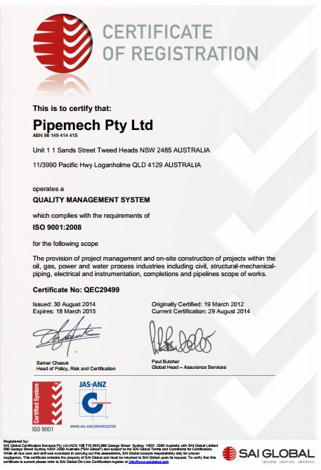 ISO 9001:2008 (Certificate No. QEC29499)Extension of Scope Achieved